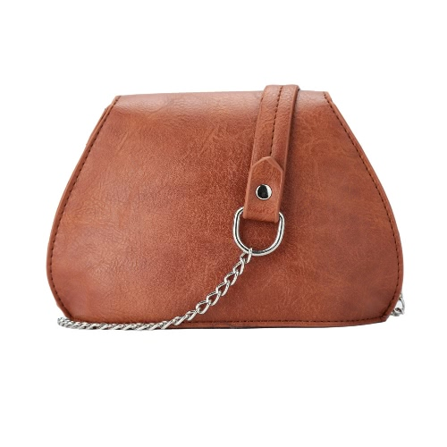 Fashion Vintage Women Crossbody Bag Magnetic Press Stud Flap Front PU Leather Chain Shoulder Bag