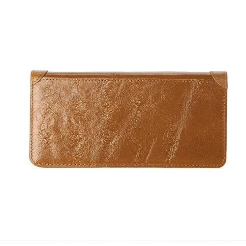 Moda Hombres clip del dinero de la carpeta de cuero largo del embrague de negocios de tarjeta de crédito en efectivo titular de la cartera