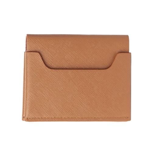 Nueva carpeta de la manera de los hombres de la PU ID cuero de la tarjeta de crédito titular de la caja de efectivo Clip Cafetera / Marrón / Negro