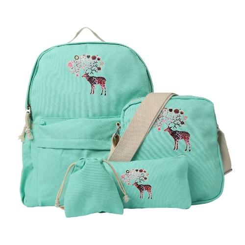 Neue Art und Weise Frauen-Segeltuch-Rucksack Bunte Rotwild-Muster-Reißverschluss-große Kapazität Schüler Schultasche