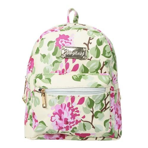 Moda floral de las mujeres Mochila de impresión superior con cremallera bolsillos funcionales Los estudiantes de la escuela bolsa de viaje Azul / Negro / Verde