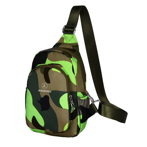 New Fashion Women Casual Crossbody Bag Multi-Pocket Military Camouflage Print Zipper Outdoor Small Bag Chest Bag Shoulder Bag