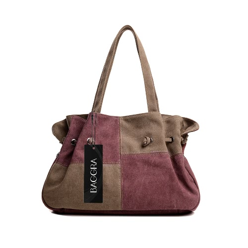 Fashion Women Canvas Handbag Contrast Color Casual Messenger Shoulder Bag Tote Black/Blue/Grey/Red