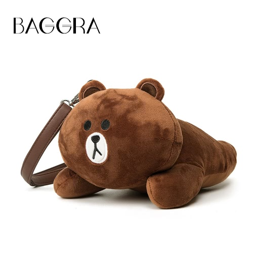 Cute Women Girl Crossbody Bag Cartoon Rabbit Bear Furry Doll Toy Shoulder Messenger Bag Brown/White