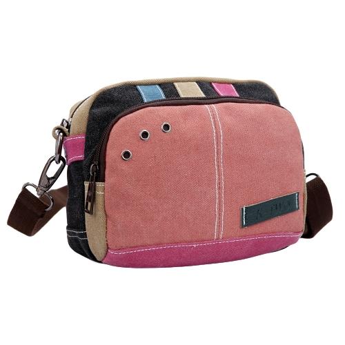 Nuevo bolso del Crossbody de la lona de las mujeres Contraste Color Splice Zipper Correa ajustable Bolsos de hombro ocasionales Azul / Rojo