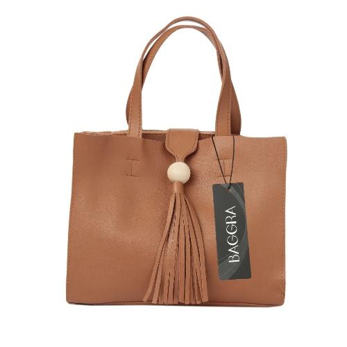 Nueva manera de las mujeres del bolso de Crossbody del bolso de PU suave de la borla del color sólido ocasional hombro Messenger Bag Negro / Gris / Marrón