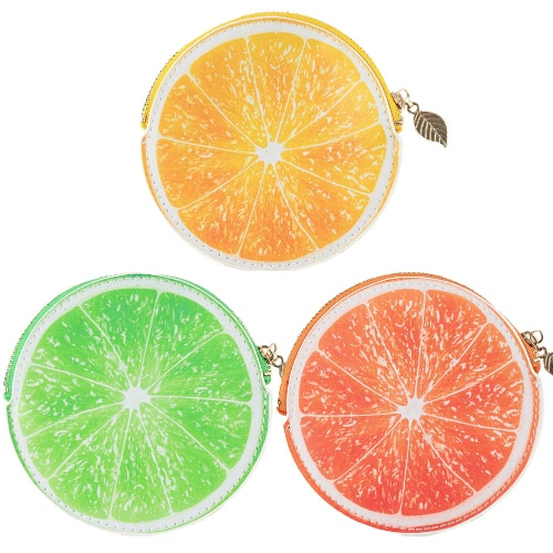 Fashion Women Coin Purse Orange Pattern Print PU Leather Candy Color Wallet Orange/Yellow/Green, TOMTOP  - buy with discount