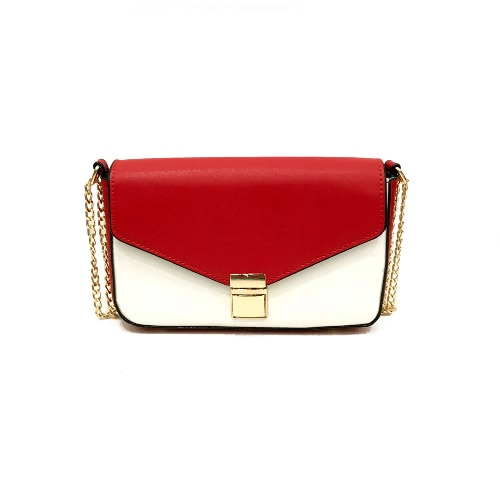 Women Chain Shoulder Bag Color Block PU Leather Flap Front Casual Mini Hand Bag Crossbody Bag