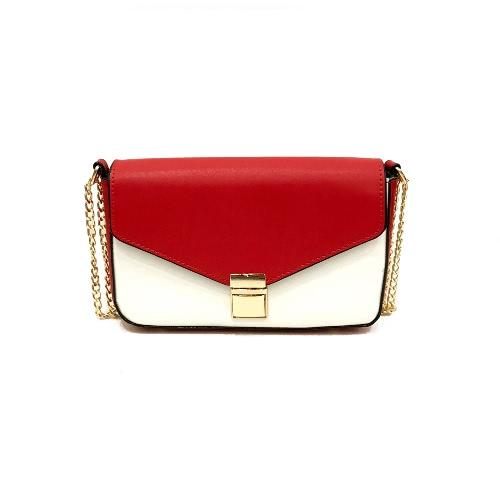 Mulheres Cadeia Bolsa de ombro Bloco de cor PU Cobre Flap Frontal Casual Mini Hand Bag Crossbody Bag