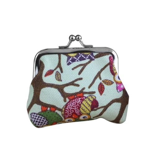 Novedad búho diseño de impresión dinero monedero bolso monedero pequeña billetera para las mujeres los niños niñas