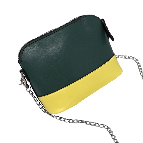 New Women PU Crossbody Chain Bag Contrast Splice Zipper Casual Vintage Small Shoulder Bags