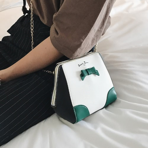 Women Girls Mini Chain Crossbody Bags PU Leather Bow Contrast Color Small Shell Shoulder Bag