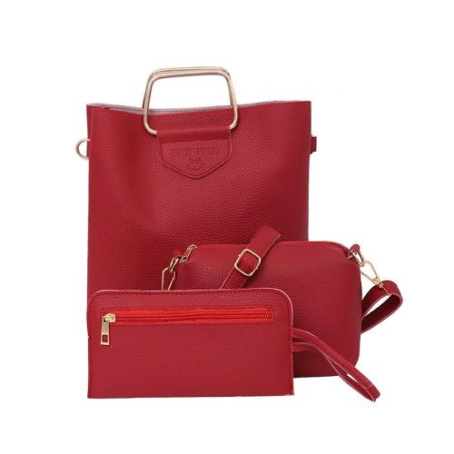 Bolso de cuero de la PU de las mujeres Bolso de cuero casual de la bolsa de Crossbody Bolso compuesto sólido del bolso