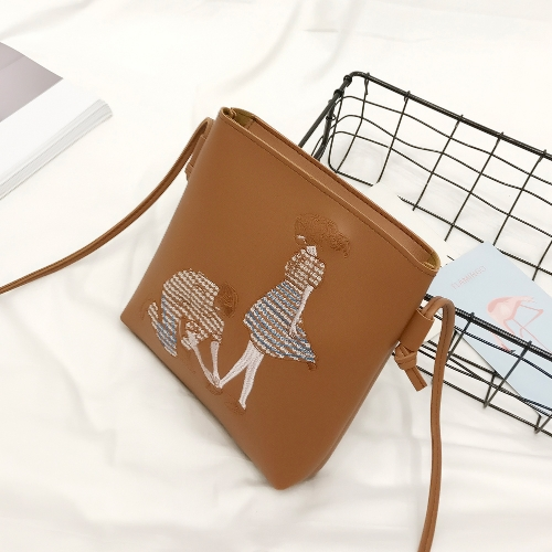 New PU Leather Shoulder Bag for Women Cute Cartoon Print Casual Crossbody Bags Girls Mini Bag Tote