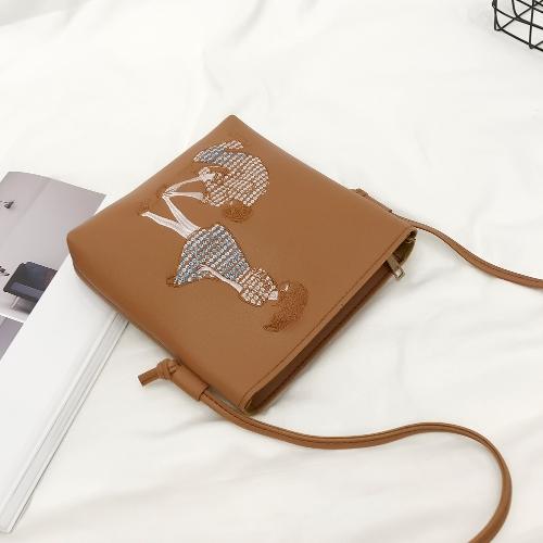Nuevo bolso de hombro de cuero de la PU para mujeres estampado de dibujos animados lindo Casual Crossbody bolsas niñas Mini bolso de mano