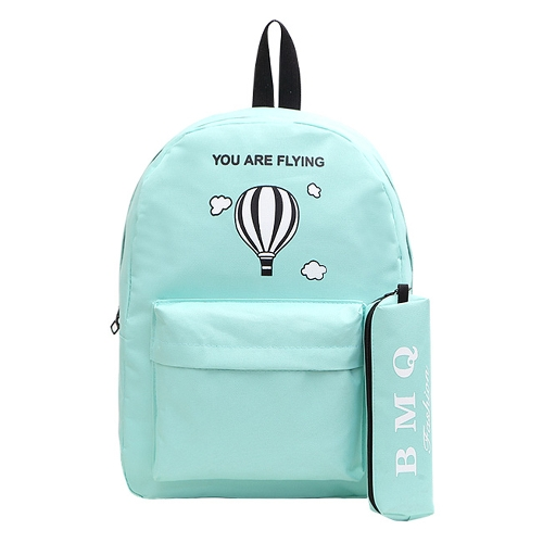 Las mujeres de la manera impresa carta de la mochila frontal de bolsillo con cremallera Candy Color School Travel Shopping mochila bolsa