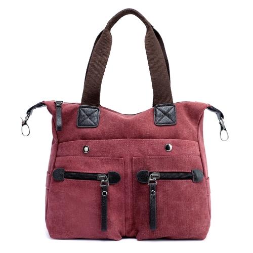 Bolso de hombro de la lona de las mujeres de la manera bolsos ocasionales del bolso de hombro de la capacidad grande Bolso de viaje del totalizador de la vendimia Crossbody