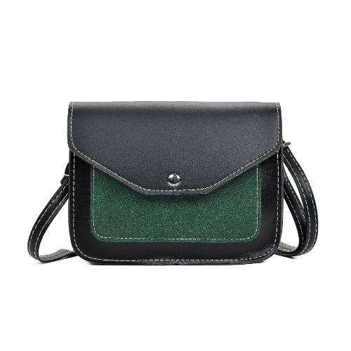 Contraste de color de la PU de las mujeres de la moda del bolso del Crossbody de la aleta frente de la vendimia bolsa de mensajero bolsa de hombro ocasional