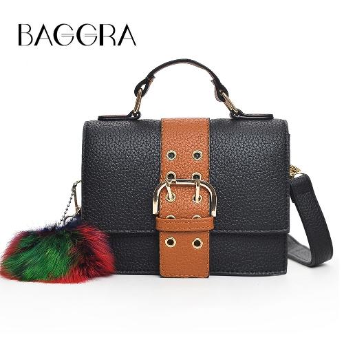 Mode Frauen Schultertasche PU Leder Schnalle Pompom Kleine Crossbody Messenger Bag Handtasche Braun / Grün / Rot