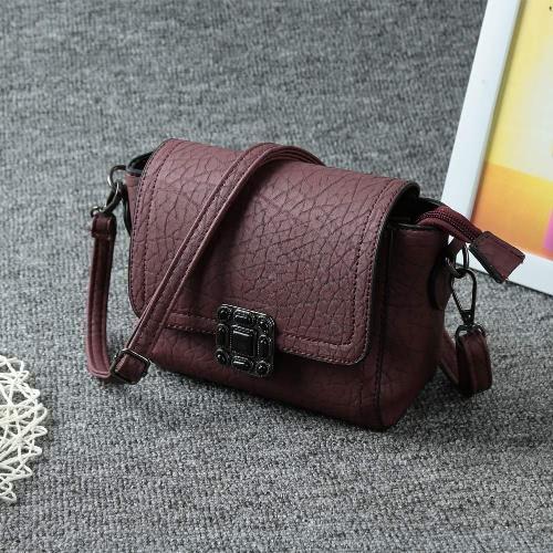 Vintage Soft PU Hasp Flap Mini Shoulder Messenger Women's Crossbody Bag