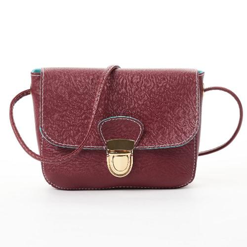 Neue Frauen-Kurier-Beutel PU-Leder-Umhängetasche Tasche Solide Flap Haspe Lässige Vintage-Schultertaschen