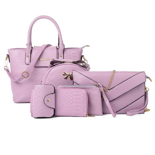 Mulheres Handbag Set PU cobra couro da pele Padrão Clutch Bag Crossbody Bag Carteira Coin Bag Cartão Bolsa 6 Piece