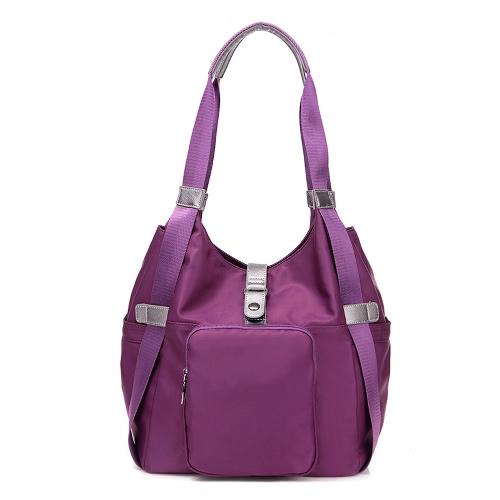 Las mujeres forman a prueba de agua de nylon bolso de cremallera superior Bolsillos la bolsa de mensajero del totalizador del hombro azul / púrpura / Negro