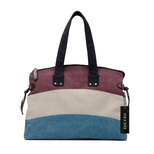 Fashion Women Canvas Tote Vintage Striped Handbag Large Capacity Casual Travel School Shoulder Bag Khaki/Burgundy