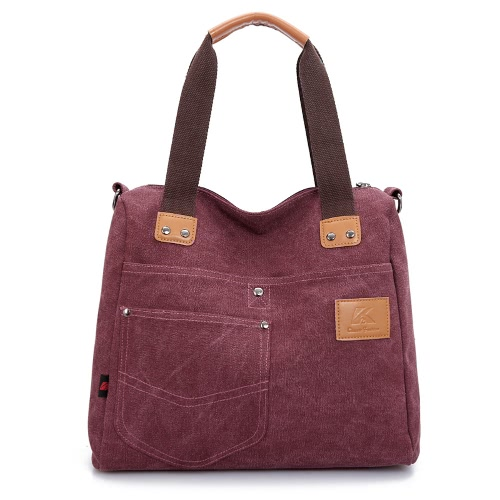 Women Canvas Handbag Casual Shoulder Bag Large Capacity Vintage Crossbody Tote Travel Bag