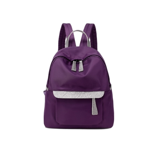Las nuevas mujeres pequeña mochila de nylon de la cremallera del bolso de cuero ocasional impermeable viaje Mochila Negro / Azul oscuro / púrpura oscura