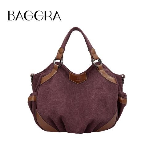 Women Canvas Crossbody Bag Handbag PU Leather Splicing Zipper Vintage Shoulder Tote Bag Blue/Brown/Burgundy