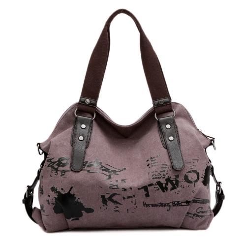 La bolsa de Nueva lona de las mujeres de Crossbody del bolso de la cremallera de cuero de varios bolsillos copias de época bolso de escuela