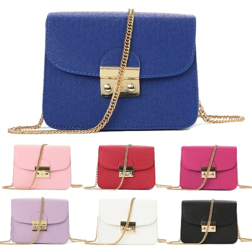 Trendy Women Shoulder Bag PU Leather Flap Chain Shoulder Solid Color Elegant Evening Crossbody Bag