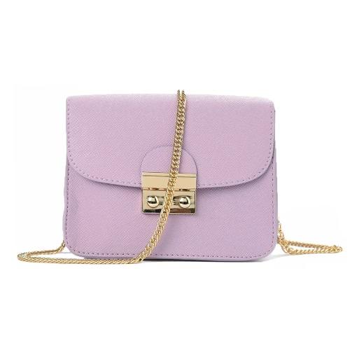 Trendy Damskie Torby na Ramię PU Skórzane Klapki Łańcuchowe Ramię Solid Color Elegancki Wieczorek Crossbody Bag