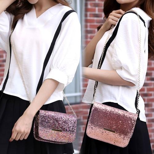 Новая сумка плеча Sequin женщин способа славная мешок цепи блеска Pu кожаная застежка -молния стороны кросс-мешок розовая / пурпуровая