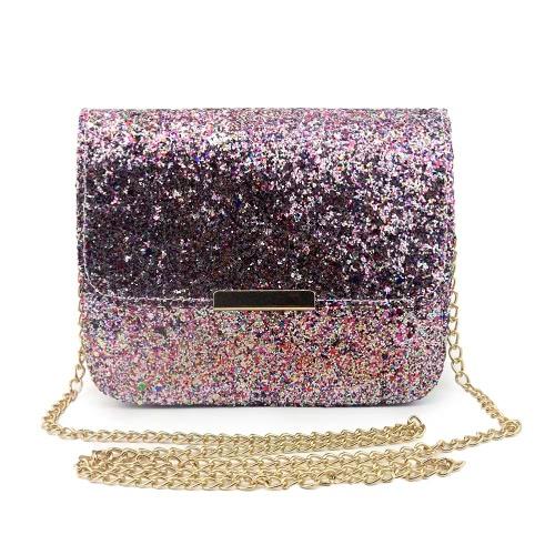 New Fashion Women Sequin Shoulder Bag Shiny Glitter Chain Bag Pu Leather Flap Party Crossbody Bag Pink/Purple