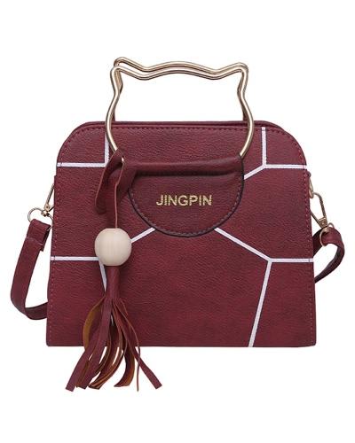 Mujeres de Metal Handle bolso PU de cuero de impresión Crossbody bolso de hombro Casual Messenger Bag