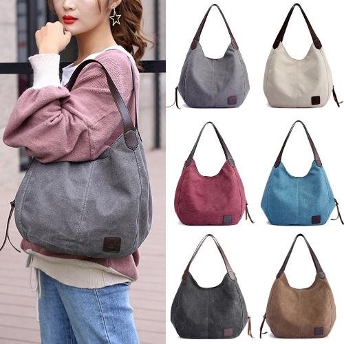 Модные женские винтажные сумки на холсте Сумки на плечах Большие емкости Multi-карманы повседневные женские сумки