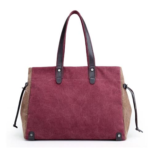 Bolso de hombro de la lona de las mujeres de la manera Contraste Color de gran capacidad Bolsos ocasionales retros del bolso de las señoras