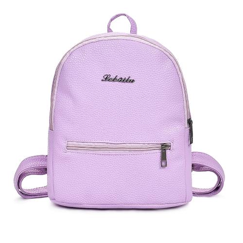 Nuevas mujeres de la manera de la PU de la PU mochila con cremallera de bolsillo correas ajustables mochila bolsa de viaje del estudiante
