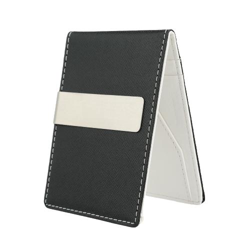 Nova moda homens dinheiro falso couro fino carteira ID cartão de crédito titular dinheiro a mola
