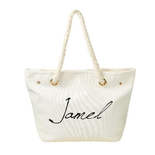 Nowe mody kobiet torebki brezentowe List Broszura dużej pojemności Casual ramię Torba na zakupy Tote Black / White