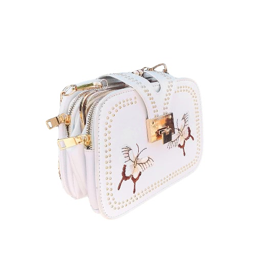 Nuevas mujeres PU Crossbody bolso remache mariposa bordado multi-bolsillos vendimia cadena bolsos de hombro blanco / negro