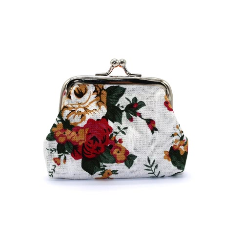 Nowe kobiety Mini Clutch Flower Portfel Hasp Canvas Portmonetka Cute Coin Holder Case Bag