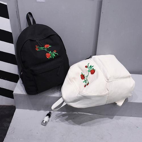 Женская рюкзак Цветочная розовая вышивка Молния Большая вместимость Многофункциональные подростки Школьная сумка Рюкзак