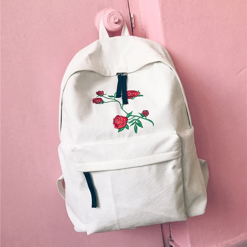 Women Backpack Floral Rose Embroidery Zipper High Capacity Multifunction Teenagers Schoolbag Knapsack