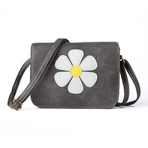 Vintage Sweet Daisy Applique Flap PU Leather Women's Crossbody Bag