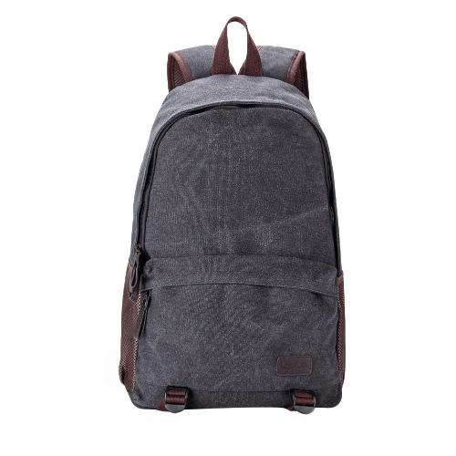 Los hombres nuevo de la manera morral de la lona de la cremallera bolso ocasional de la escuela de la mochila del ordenador portátil del recorrido del bolso de color caqui / gris