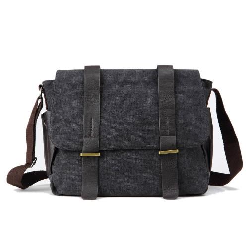 Los hombres de la nueva manera de la lona del bolso de Crossbody de gran capacidad multi-bolsillos con cremallera cubierta de los bolsos de hombro de la vendimia Casual gris / de color caqui