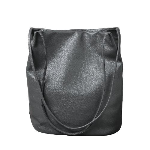 Las mujeres bolso nuevo de la vendimia del color sólido de cuero de la PU gran cubo de hombro bolsa de mensajero